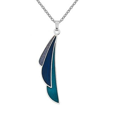Enamel and Silver Mackintosh Plume Blue Pendant Necklace (7341)