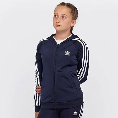 New Adidas Originals Girls Children Hooded Track Top Tracksuit Sweat Trefoil