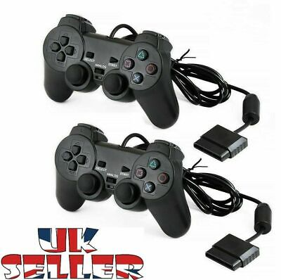 Wired & Wireless Black Dual Shock Controller for PS2 PlayStation Joy-pad Gamepad