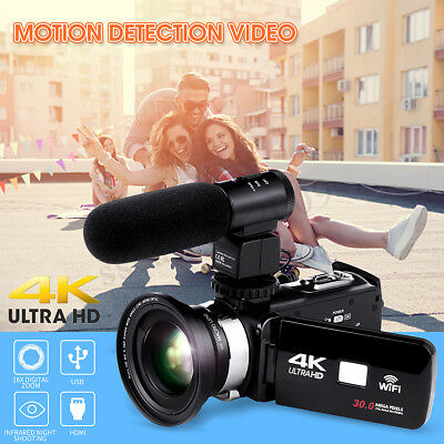 "4K WiFi Ultra HD 1080P 3"" Digital Video Camera Camcorder DV + Lens + Microphone"