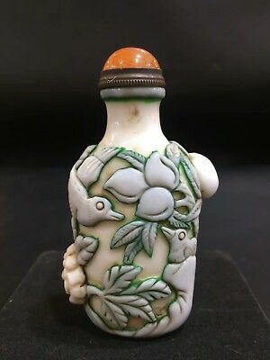 Marked China Dynasty Coloured Glaze carve magpies and peach Noble Snuff Bottle