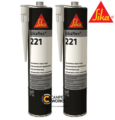 SIKA 221 BLACK & SIKA 221 WHITE Sealant Multi Purpose Adhesive 2 Pack BUNDLE