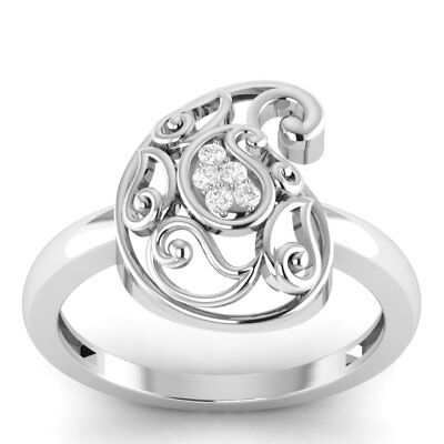 0.12 Ct Round Diamond Vintage Design Ring 14k White Gold Over Sterling Silver