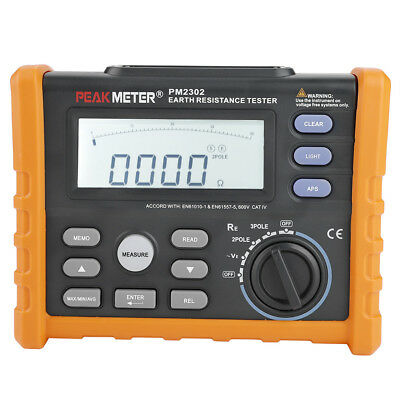PM2302 Digital & Analog Earth Ground Resistance Voltage Tester Meter 0-4KΩ 200V