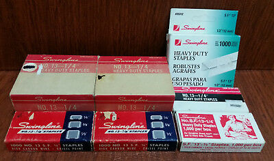 """Big Lot SWINGLINE No. 13 SF Staples Vtg New in Boxes ¼"""" & ½"""" Heavy Duty Assorted"""