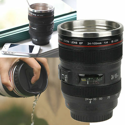 Camera Lens Cup 24-105 Coffee Travel Mug Thermos Stainless Steel Leak-Proof Lid#