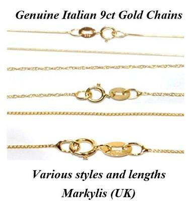 GENUINE 9ct GOLD FINE NECKLACE CHAIN - VARIOUS STYLES AND LENGTHS AVAILABLE