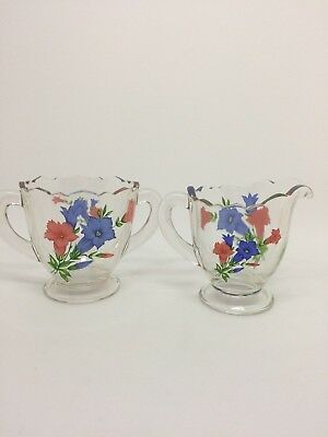 Antique Vintage Clear Glass with Blue & Red Flower Cream and Sugar