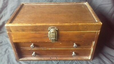 Vintage Engineer Wooden Oak Cabinet 3 Drawers Tool Box Artist Craft Sewing Chest