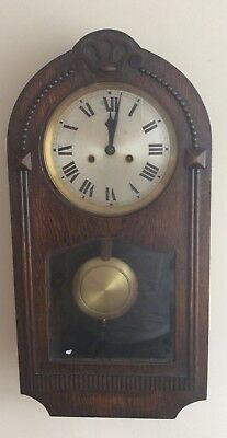 Antique Hac Oak Carved Wall Clock Made In Wurttemberg Germany ++Working Order++