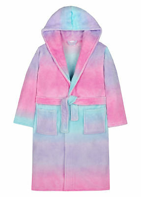Rainbow Ombre Dressing Gown Sherbert Two Tone Hooded Robe House Coat Kids Size