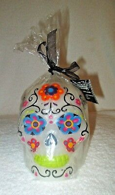 """Sugar Skull Day of the Dead Flameless Led Candle with timer WAX 4 1/2"""" tall"""