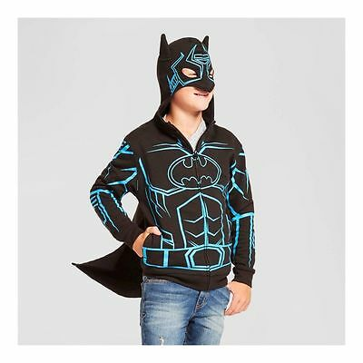 New Boys XL 16 Batman Hooded Sweatshirt Hoodie Glow in Dark Cape Mask Black Blue