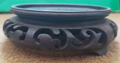 Antique Chinese Hardwood Stand Round/Oval Carved Open Fret Work 93mm Int. Dia