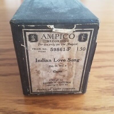 VTG 1916 AMPICO Recording Player Piano Roll 59861-F Indian Love Song Grunn