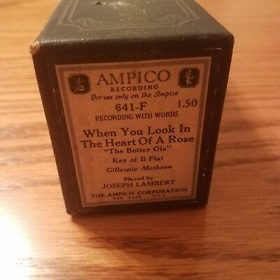 VTG AMPICO Recording Player Piano Word Roll 641F When You Look In The Heart Rose