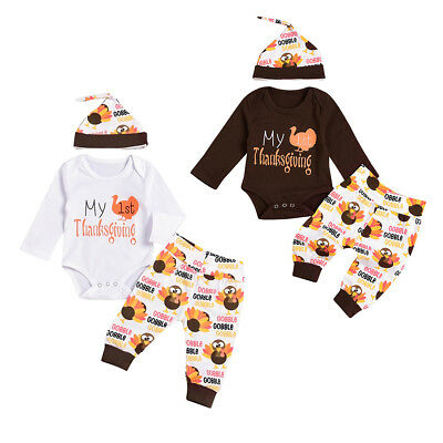 3PCS My First Thanksgiving Outfit Baby Boy Girl Romper Pants Hat Clothes Costume