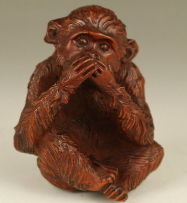 Big chinese hand Old Boxwood Hand Carved Monkey apes Statue Ornament Collectable