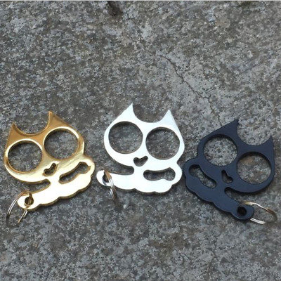 Metal Cat Key Chain Personal Protection Buckle Keychain Outdoor Camping Survival