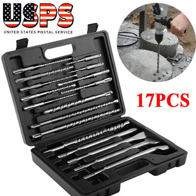 17pcs Rotary Hammer Drill SDS+ Plus Bits Chisel Set Concrete Fits for Hilti
