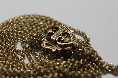 Beautiful! Antique Solid 14K Gold Ornate Victorian Slide Chain with Seed Pearls!