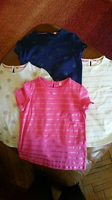 Girls tshirts X 4 age 5-6 M & S pink navy grey and white
