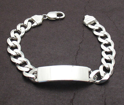 "8/"" 87g MEN/'S HEAVY BIKER CUBAN CURB CHAIN LINK STERLING SILVER 925 ID BRACELET"