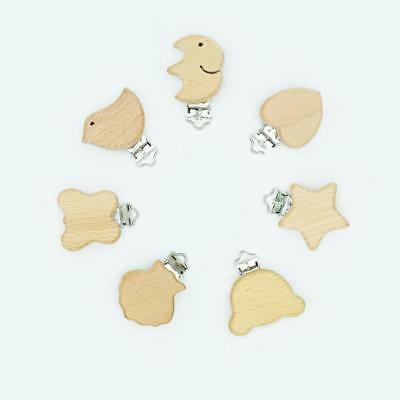 Wooden Animal  Pacifier Clip Baby Nursing Heart Teething Accessories W