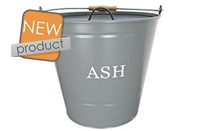 Manor Reproductions Round Grey Metal Ash Bucket With Lid 0347