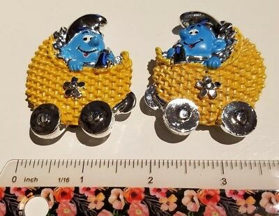 2 Baby SMURFS in stroller bugy MAGNETS  authentic PEYO merchandise Gift idea