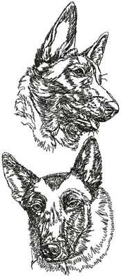 Belgian Malinois Dog Graphic SET OF 2 HAND TOWELS EMBROIDERED