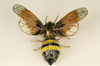 Rare chinese Enamels Cloisonne hand carving Bee statue Netsuke Pendant