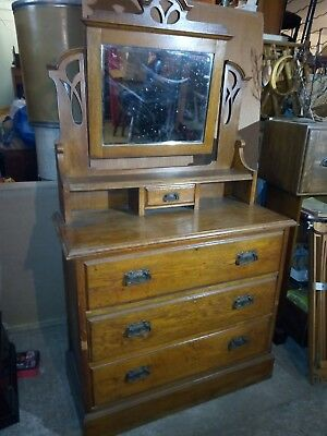 Oak Dressing Chest Arts And Crafts Table Art Nouveau three drawer.