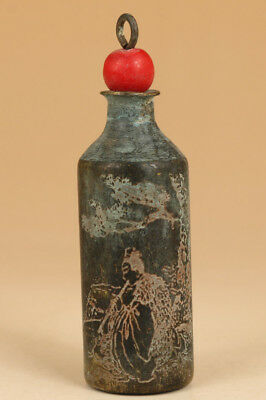 chinese old Bronze Hand Carved Qing Dynasty poetry Statue Snuff Bottle