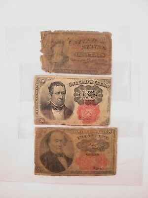 Old U.S. Fractional Currency Notes 2 - 10¢ & 1 - 25¢ No Reserve
