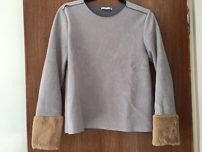 ZARA Grey Faux Suede Jumper with Furry Cuffs - Size Small