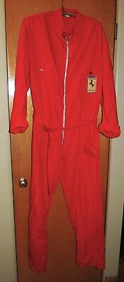 Vintage Ferrari Firestone Red Racing Pit Crew Jumpsuit Made in Italy Size 60