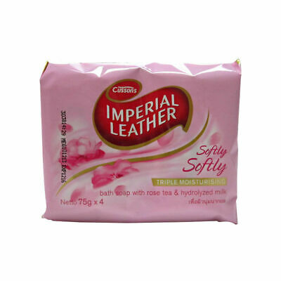 CUSSONS IMPERIAL LEATHER SOFTLY SOAP BAR 4 x 75g PACK BATH BODY ROSE FRAGRANCE