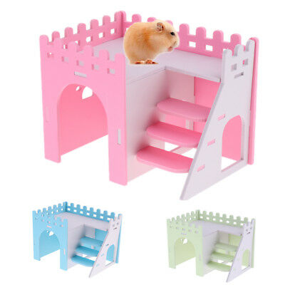 Hamster Guinea Pig House Loft Hideout Playground Exercise Toys With Ladder