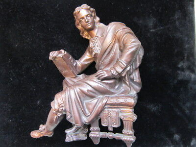 Clock Topper Bronze Finish Spelter Of Figure Holding A Book Of Knowledge