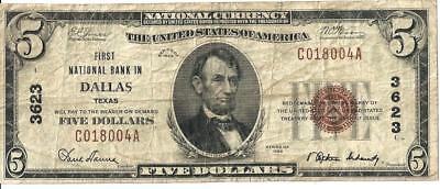 1929 First National Bank of Dallas Texas National Currency $5 Ch # 3623 Note