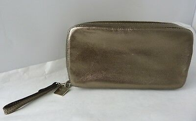 Coach Women's Pewter Multi Compartment Make-Up Pouch Bag