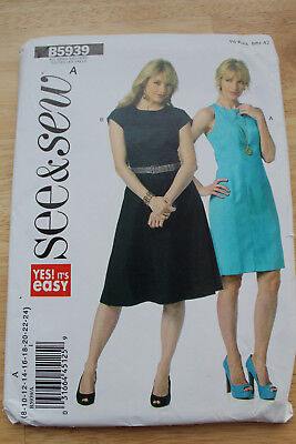 Butterick Sewing Pattern B5939  see & sew ladies semi-fitted dress ,out of print