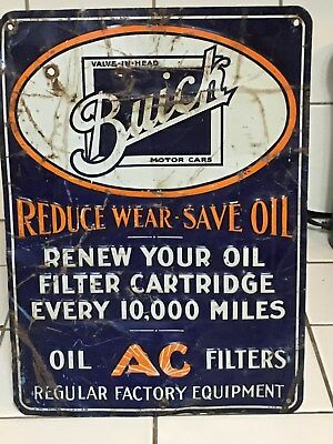 RARE ORIGINAL Early BUICK AC OIL FILTER Tin Tacker Sign GaS OiL Vintage OLD WOW!