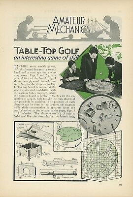 1933 How to Build Golf Theme Pin Ball Game Table Top Woodworking Marbles