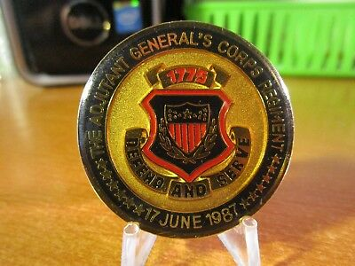 US Army The Adjutant Generals Corps Regiment June 1987 Challenge Coin #3869