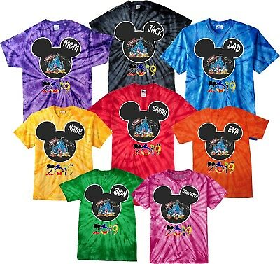 NEW DISNEY FAMILY VACATION 2019 Tie Dye T-SHIRTS WITH CUSTOM NAMES