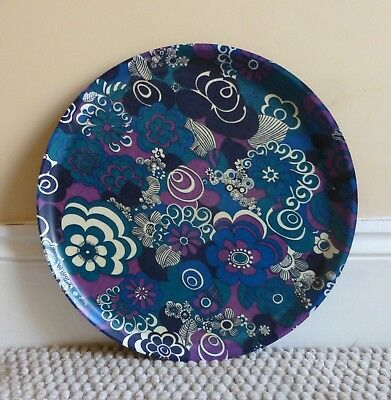 Vintage Retro 1970's Psychedelic Flower Power Round Tray. Purple Blue White.