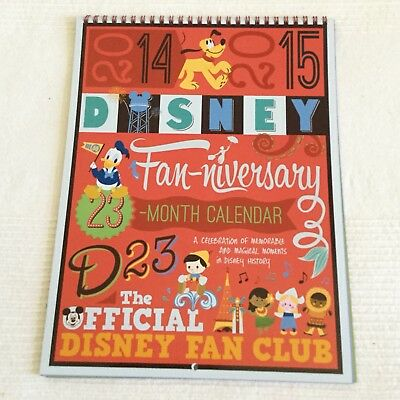 Disney D23 2014 2015 23 Month Calendar Fan-Niversary Gold Member Gift New