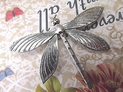 Art Nouveau Style Dragonfly Brooch Silver Dragonfly Jewelry Myelegantthings
